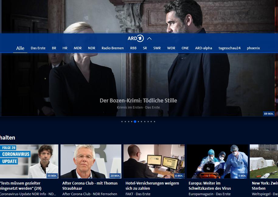 Fernsehen ARD Mediathek screenshot